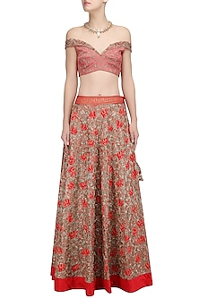 Red Zari Embroidered Flared Lehenga and Blouse Set by Architha Narayanam
