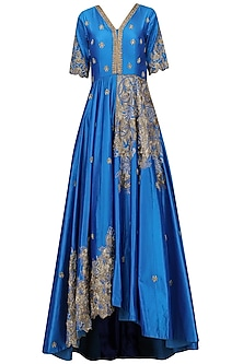 Blue Hand Embroidered Asymmetric Gown