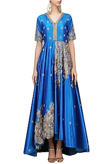 Blue Hand Embroidered Asymmetric Gown by Architha Narayanam