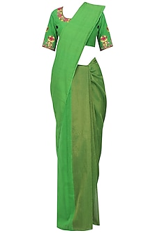 Green Matka Silk Saree with Blouse