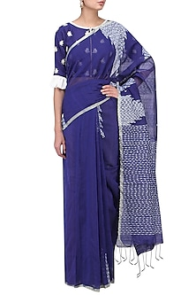 Blue Handloom Cotton Saree with Blouse by Architha Narayanam