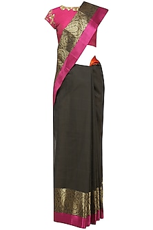 Black Matka Silk Saree with Pink Blouse