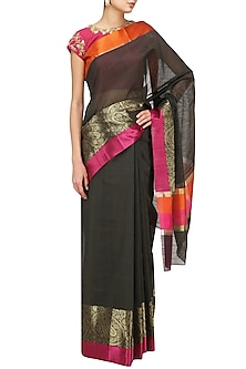 Black Matka Silk Saree with Pink Blouse by Architha Narayanam