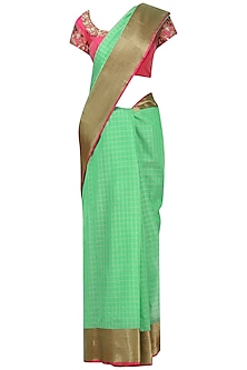 Mint Green Matka Silk Saree with Pink Blouse by Architha Narayanam