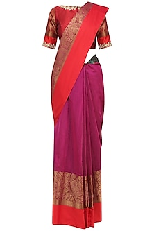 Magenta Matka Silk Saree with Red Blouse