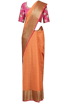 Orange Matka Silk Saree with Pink Blouse