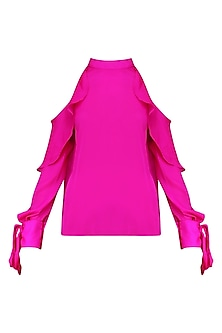 Pink Cold Shoulder Ruffled Top