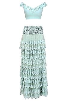 Blue Mint Embroidered Multi Layered Lace Ruffled Lehenga Set