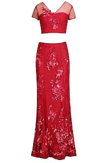 Red Floral Boquet Lehenga Set