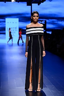 Black Striped One Shoulder Jumpsuit