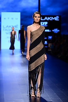 Black Asymmetric Tasseled Dress