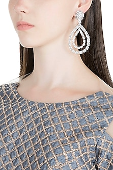 White Finish Diamante Earrings by Auraa Trends