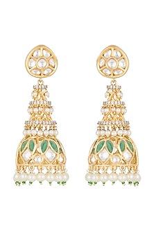 Gold Finish Kundan & Pearls Jhumka Earrings by Auraa Trends