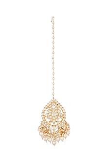 Gold Finish Kundan & Pearls Drops Maangtika by Auraa Trends