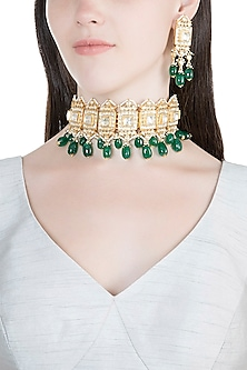 Gold Finish Kundan & Semi-Precious Green Stones Necklace Set by Auraa Trends