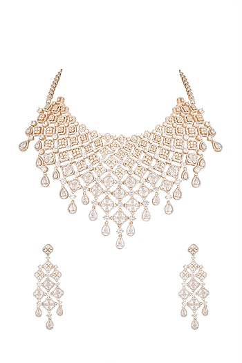 Gold Finish Diamante Necklace Set by Auraa Trends