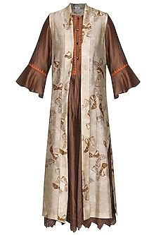 Brown Digital Printed Front Open Jacket With Beige Tunic