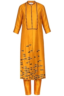 Orange Laser Cut Embroidered Tunic With Pants