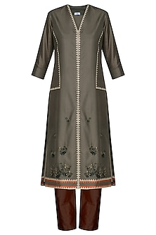 Brown Laser Cut Embroidered Tunic With Pants