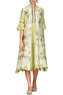 Light Green Digital Printed Jacket With Tunic by AUR