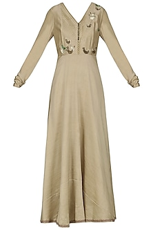 Beige Embroidered Anarkali Gown