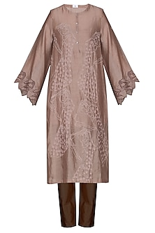 Brown Embroidered Tunic With Pants