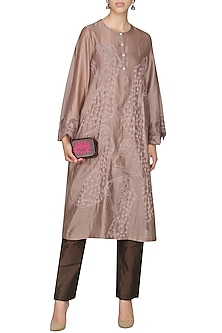 Brown Embroidered Tunic With Pants by AUR