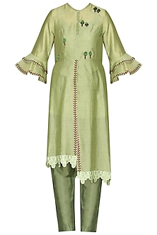 Green Laser Cut Embroidered Tunic With Pants