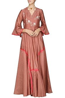 Dark Peach Embroidered Anarkali Gown by AUR
