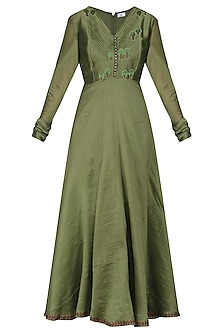 Green Embroidered Anarkali Gown
