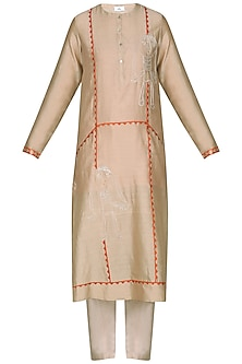 Beige Laser Cut Embroidered Tunic with Pants