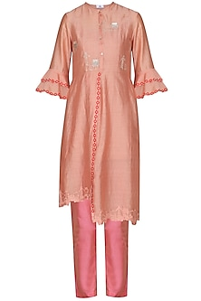 Pink Laser Cut Embroidered Tunic with Pants