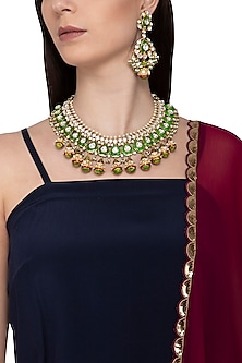 Gold Plated Red & Green Meenakari Necklace Set