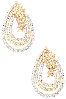 Gold Plated Pear Shaped American Diamonds Earrings by Auraa Trends