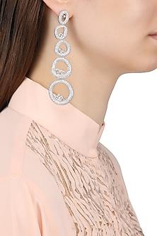 Rhodium Finish American Diamonds Tiered Earrings