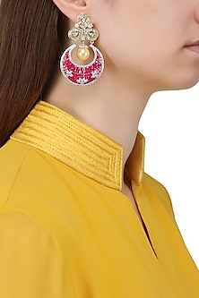 Gold Plated American Diamonds and Semi Precious Stones Earrings by Auraa Trends