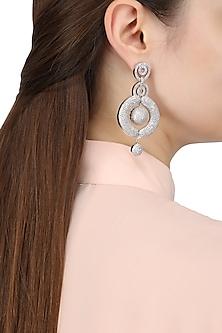 Rhodium Finish American Diamonds Round Drop Earrings by Auraa Trends