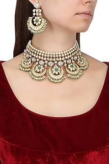 Gold Plated Kundan and Pearls Crescent Shaped Necklace Set