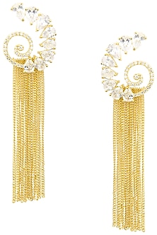 Gold Plated American Diamond and Chain Tassel Earrings by Auraa Trends