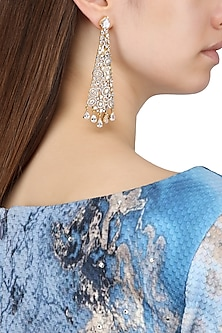 Gold Plated Conical Shaped American Diamond Drop Earrings