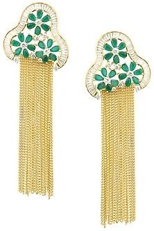 80e0f321e Auraa Trends. Gold Plated American Diamond, Green Stones and Chain Tassel  Earrings