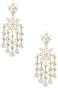 Gold Plated American Diamond Dangler Earrings by Auraa Trends