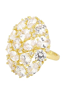 Gold Plated Round Shaped American Diamond Ring by Auraa Trends