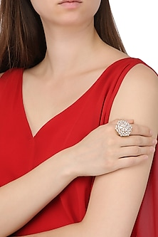 Gold Plated Floral American Diamond Ring by Auraa Trends