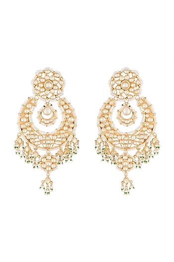Gold Finish Kundan & Pearl Chandbali Earrings by Auraa Trends