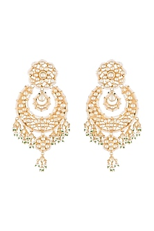 Gold Finish Kundan & Pearl Chandbali Earrings by Auraa Trends