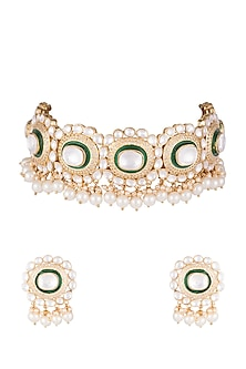 Gold Finish Green Meenakari Necklace Set by Auraa Trends
