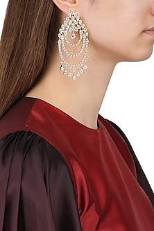 Gold Plated Circular Earrings Set In Alloy Studded with American Diamonds by Auraa Trends