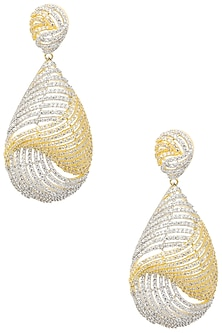 Gold Plated Shell Shapped Earrings Set In Alloy Studded with American Diamonds by Auraa Trends