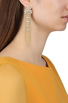 Gold Plated Round Shapped Earrings Set In Alloy Studded with American Diamonds by Auraa Trends
